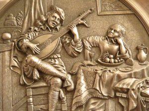 Minnesänger mit Laute und Frau die dem Gesang lauscht