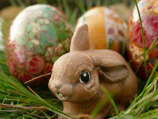Ostereier mit Hase im Gras