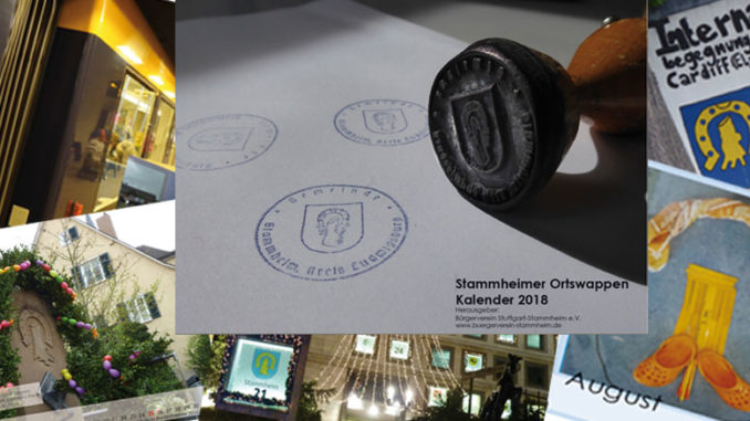 Collage aus dem Titelblatt und einzelnen Fotos aus dem Kalender - Thema Stammheimer Ortswappen