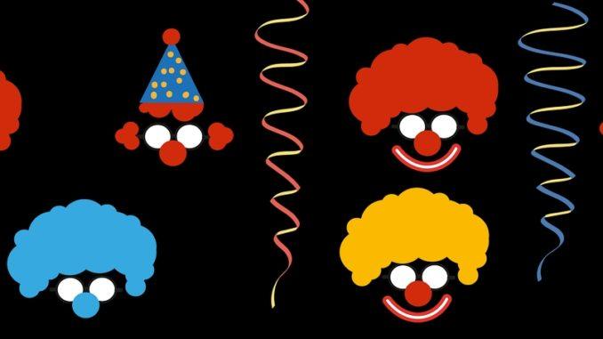 Bunte Clowngesichter auf schwarzen Hintergrund